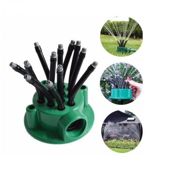 Aspersor multifunctional de gradina 360 grade, cu 12 tuburi flexibile, Verde
