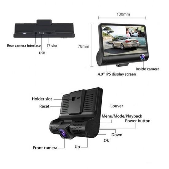 Camera auto tripla, cu 3 focalizari, filmare fata spate si interior