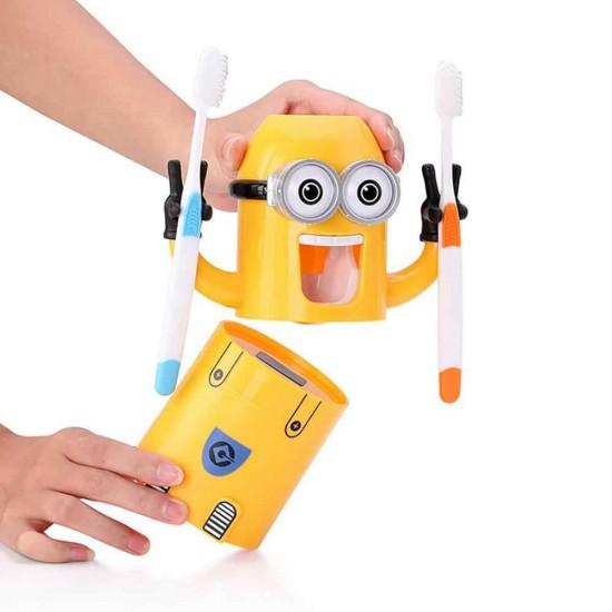 Dozator Minions pentru pasta de dinti cu suport de periute integrat