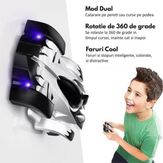 Masinuta de jucarie ce merge pe pereti, telecomanda de control inclusa