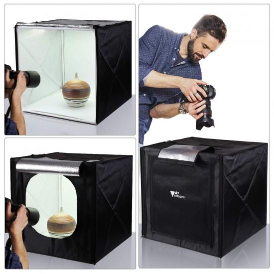 Mini studio foto portabil, dotat cu 2 benzi Led, 3 fundaluri, controller de lumina, 40x40 cm