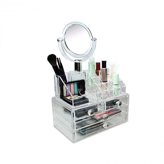 Organizator cu oglinda pentru cosmetice