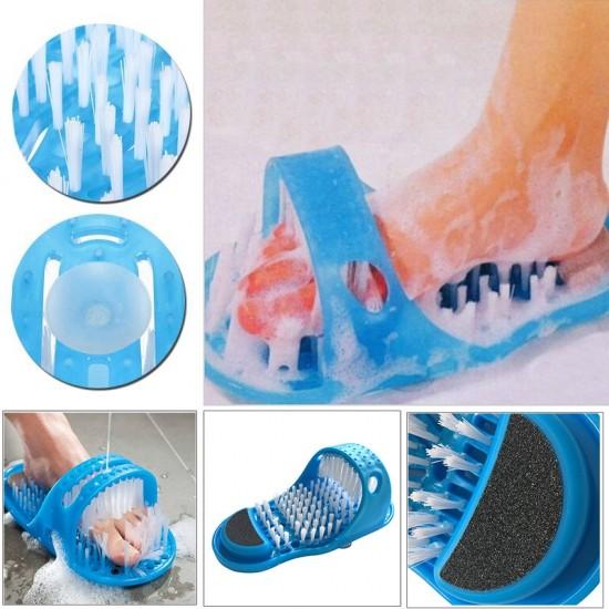 Papuc tip perie pentru masajul picioarelor, fixare cu ventuze