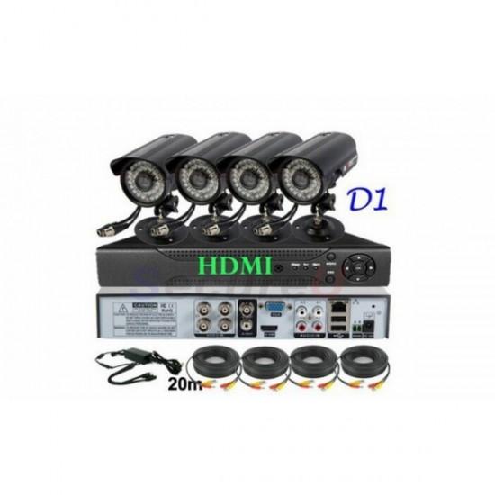 Sistem DVR cu 4 camere de supraveghere pentru interior/exterior
