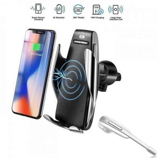 Suport auto cu incarcare wireless + Casca bluetooth BONUS