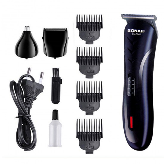 Trimmer professional  3 in 1, Sonar-SN5802, cu 2 capete interschimbabile